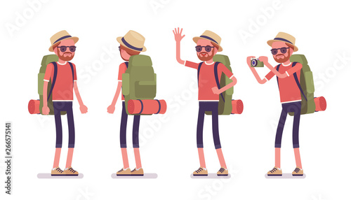 Fototapeta Hiking man standing. Male tourist with backpacking gear, wearing clothes for outdoor sporting or leisure activity. Vector flat style cartoon illustration isolated on white background, front, rear obraz