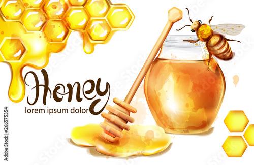 Honeycomb banner watercolor illustration Fototapete