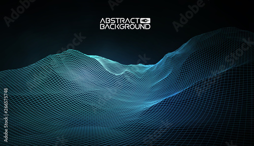 Foto auf Leinwand Schwarz Abstract vector wireframe landscape background. Cyberspace grid. 3d technology wireframe vector illustration. Digital wireframe landscape for presentations .