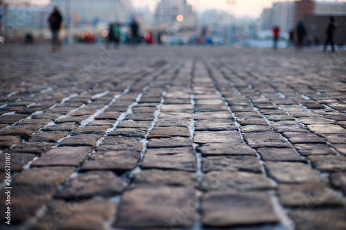 Canvas Print Stone pavement in perspective