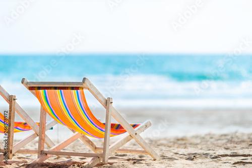 Fotografija Chair beach for relaxation and bath at the tropical beach