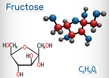 Fructose, Alpha-D-fructofuranose Molecule. Cyclic Form. Structural Chemical Formula And Molecule Model
