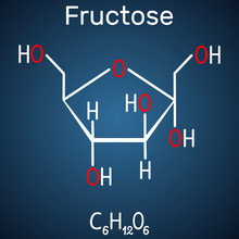 Fructose, Alpha-D-fructofuranose Molecule. Cyclic Form. Structural Chemical Formula On The Dark Blue Background