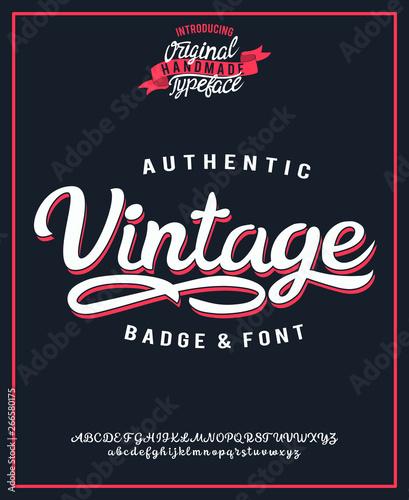Vintage. Retro logo. original handmade typeface. Vector font and logo. Print on shirt or sticker. Vintage badge.