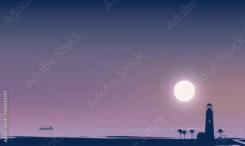 Valokuva Vector travel banner with a night tropical seascape