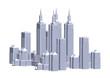 Frame of gray buildings