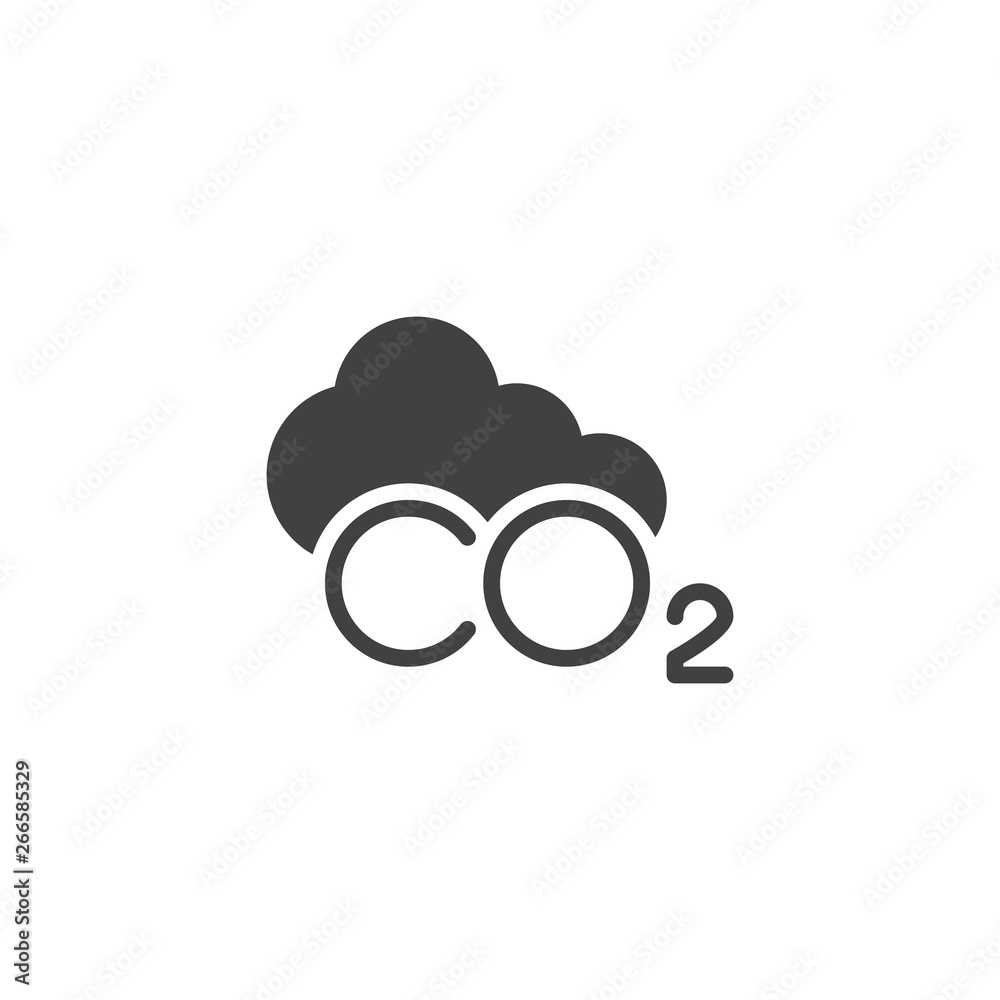 Fototapeta CO2 cloud vector icon. filled flat sign for mobile concept and web design. CO2 carbon dioxide glyph icon. Symbol, logo illustration. Pixel perfect vector graphics