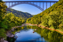 New River Gorge And Bridge In West Virginia. Rafting The New River.