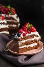 Chocolate Cake With Strawberries