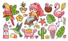 Set Of Cute Funny Summer Stickers. Mermaid With Cocktail, Flamingo, Parrot, Hummingbird, Crab In The Crown, Tropical Leaves. Collection Of Pins, Patches, Icons, Elements And Badges. Vector