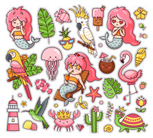 Big Set Of Summer Tropical Stickers With Kawaii Mermaids, Cockatoo, Macaw, Flamingo, Parrot, Hummingbird, Crab, Turtle And Jellyfish. Collection Of Vector Illustration For Print, Postcard, Card And