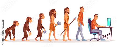 Human evolution of monkey to modern man programmer, computer user isolated on white background Canvas