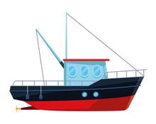 Fishing Boat Sea Travel Isolated