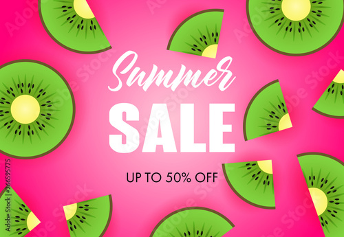 Summer sale lettering with kiwi slices Fototapeta