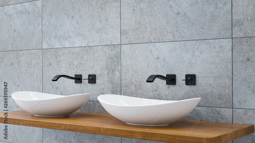 Fototapety, obrazy: Close up of bathroom vanity basin on a wodden oak top vanity with black water faucet 3D-Illustration