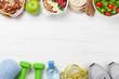 Leinwandbild Motiv Healthy food and fitness concept