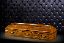 Closed Wooden Brown Sarcophagu...