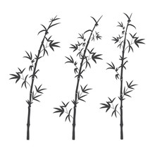 Set Of Black Silhouette Of A Bamboo Stalk With Leaves. Isolated On White Background