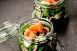 canvas print picture - lachs mit salat im glas