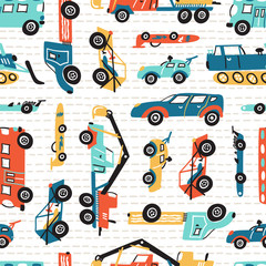 Vector Seamless Pattern with Doodle Toy Racing Cars, Heavy Construction Trucks. Cartoon Transportation Background for Kids.