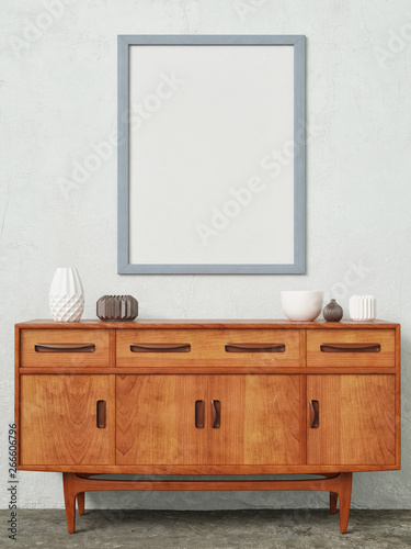 Mock up poster with retro sideboard,home decoration, 3d render, 3d illustration Fototapet