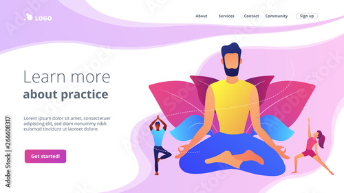 Teacher meditating in lotus pose and tiny people learning to do yoga exercises. Yoga school, open yoga studio, learn more about practice concept. Website homepage landing web page template.