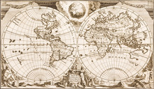 Antique World Map Of The 18th ...