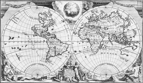 Antyczna mapa świata z XVIII wieku, w czerni i bieli