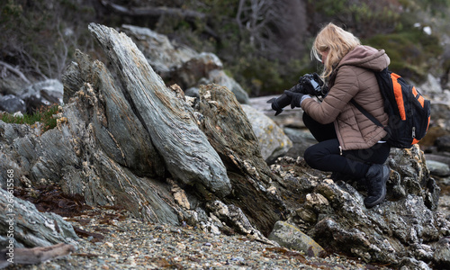 Fototapeta Photographer taken photos of ancient stones