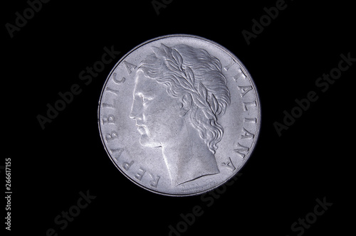 L.100 italian coin isolated on the dark background Canvas Print