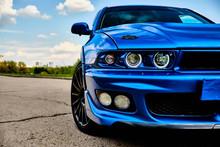 Aggressive Sport Car In Blue A...