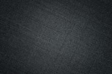 Black Fabric Texture. Textile Background With Vignette