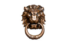 Lion Head Doorknocker Isolated On White Background