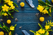 Blue Kyanite And Flowering Yellow Trumpet Vine On Blue Stained Wood
