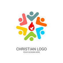 Church Logo And Biblical Symbols. The Unity Of Believers In Jesus Christ, The Worship Of God, Participation In The Evening Of The Lord And The Reading Of The Holy Scriptures.