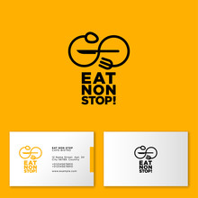 Eat Non Stop Logo. Cafe Or Restaurant Emblem. Spoon And Fork As Infinity In Yellow Background. Business Card.