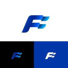 F Letter. F Monogram. Blue Flag On Different Backgrounds. Forward Emblem.