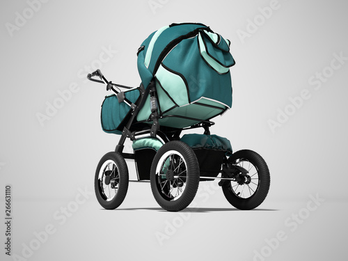 Photo  Blue pram with pockets for baby boy 3d render on gray background with shadow
