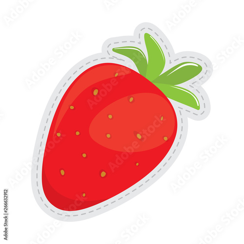 Fototapety, obrazy: Strawberry dotted sticker image. Vector illustration design