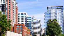 San Jose's Downtown Skyline, With Residential High Rises And Modern Office Buildings; Silicon Valley, California