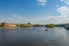 Outdoor Sunny Scenery Of Vltava River And Riverside From Karlův Most, Charles Bridge, And Background Of Most Legií,  Legions Bridge, And National Theatre, And Museum Kampa In Prague, Czech Republic.