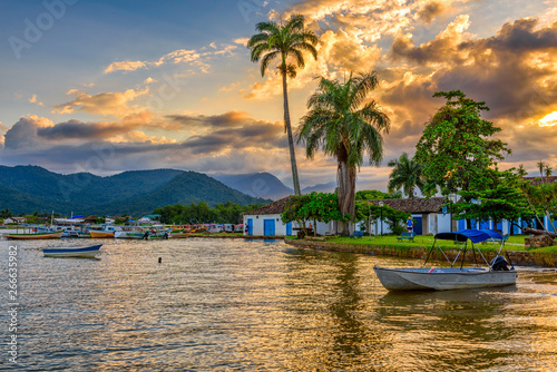 Canvas Prints Rio de Janeiro Embankment of historical center in Paraty at sunset, Rio de Janeiro, Brazil. Paraty is a preserved Portuguese colonial and Brazilian Imperial municipality