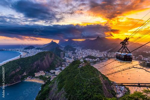 Sunset view of Copacabana,  Corcovado, Urca and Botafogo in Rio de Janeiro Wallpaper Mural