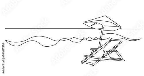 Continuous Line Drawing Of Beach Chair And Umbrella Near Sea Waves