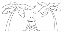 Continuous Line Drawing Of Woman Sitting Relaxing On Beach Under Palm Trees