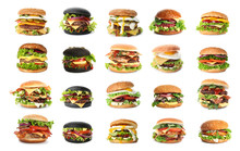 Set Of Delicious Burgers On White Background