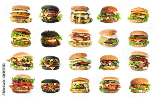 Fototapeta Set of delicious burgers on white background obraz
