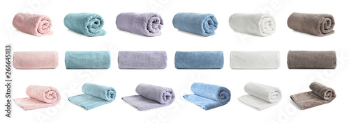 Set of different clean terry towels on white background Tapéta, Fotótapéta