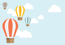 Vector Colorful Hot Air Balloon In The Blue Sky