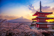Leinwandbild Motiv Fujiyoshida, Japan Beautiful view of mountain Fuji and Chureito pagoda at sunset, japan in the spring with cherry blossoms